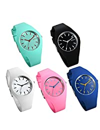 Lancardo Candy Color Silicon Jelly Rubber Girl Ladies Quartz Wristwatch(5Pcs)