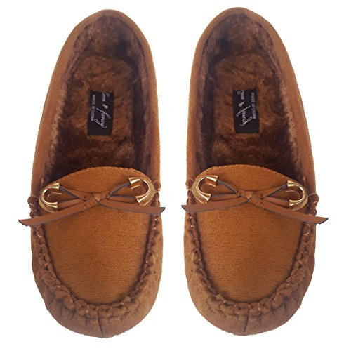 Elegant Womens Casual Loafers Faux Suede Camel Color Moccasins With Gold Accent Bow Camel Color J9jnTP2Jb