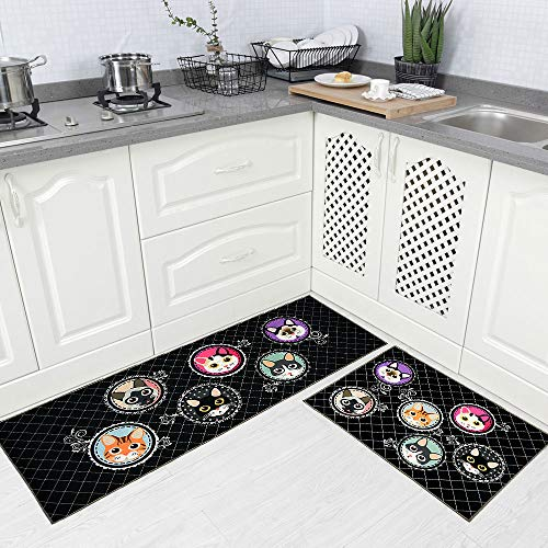 Carvapet 2 Piece Non-Slip Kitchen Rug TPR Anti-Slip Backing Mat for Doorway Bathroom Runner Rug Set, Cat Design (17