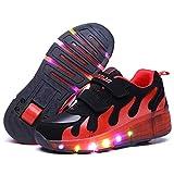 Nsasy YCOMI Girl's Boy's LED Light Up Single Wheel Double Wheel Shoes Roller Skate Shoes (35 M EU / 3.5 M US Big Kid)