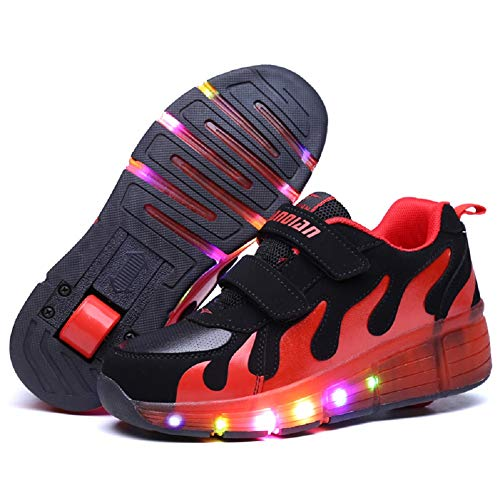 Nsasy YCOMI Girl's Boy's LED Light Up Single Wheel Double Wheel Shoes Roller Skate Shoes (34 M EU / 3 M US Little Kid)