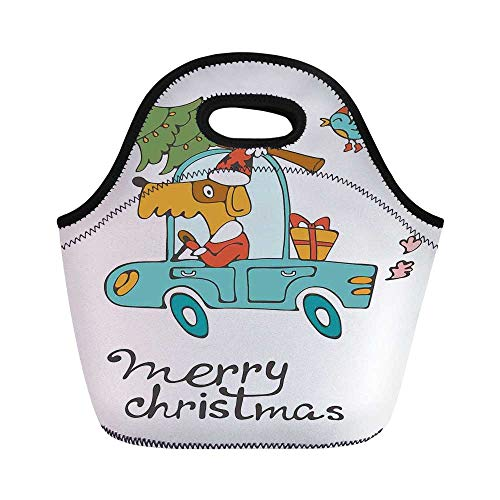 Christmas Durable Lunch Bag,Blue Vintage Car Dog Driving with Santa Costume Cute Bird Tree and Gift Present for School Office,11.0