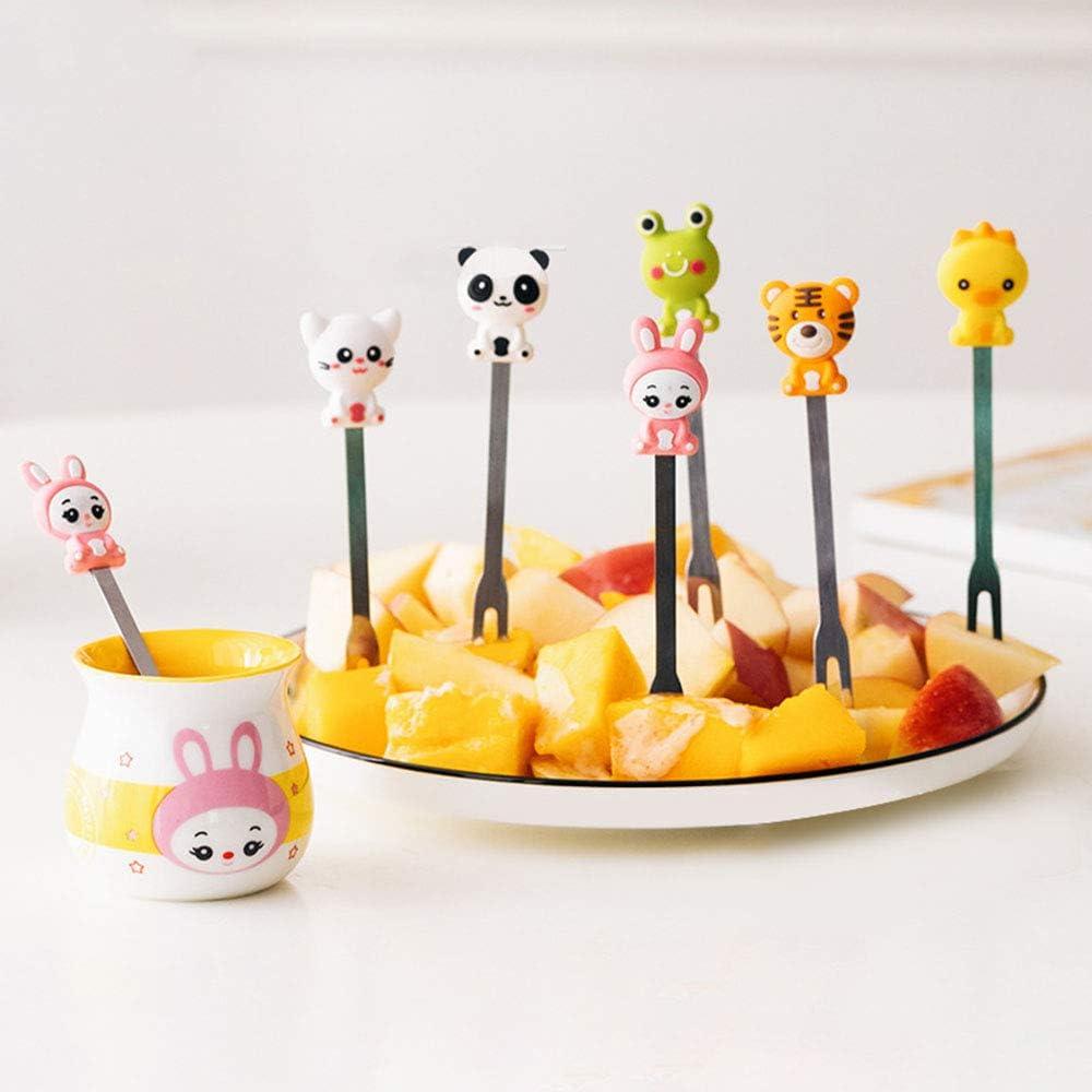 Gwolf Forchette macedonia deliziose,set di forchette frutta in acciaio inossidabile fumetto Maniglia silicone creativo a forma animale Manici stuzzicadenti frutta Forchetta a due denti