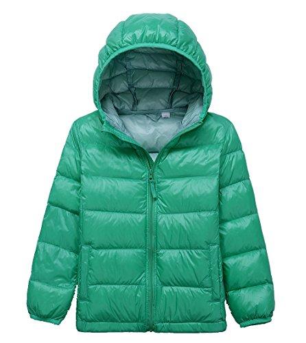 Lanbaosi Kid's Puffer Jacket Boy's Girl's Packable Hoodie Down Parka Jacket Coat, Green, - Coat Girls Puffer