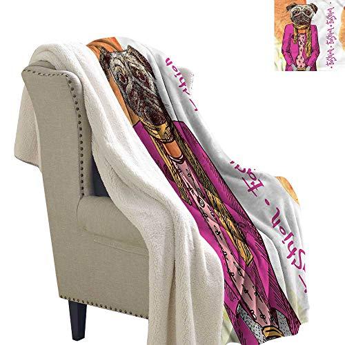 Alexandear Pug Digital Printing Blanket Fashion Icon Scarf Jacket Soft Blanket Microfiber 60x78 Inch ()