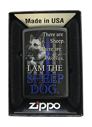 Zippo Custom Lighter - K-9 'Sheep Dog' Blue Line Police Support - Black Matte