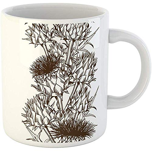 (Personalized 11 Ounces Funny Coffee Mug Brown Bloom Onopordum Acanthium Scottish Thistle Blooming Blossom Botanical Ceramic Coffee Mugs Tea Cup Souvenir)