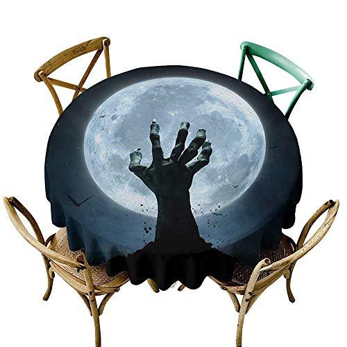 (Zmstroy Restaurant Tablecloth Halloween Realistic Zombie Earth Soil Full Moon Bat Horror Story October Twilight Themed Picnic D51 Blue)