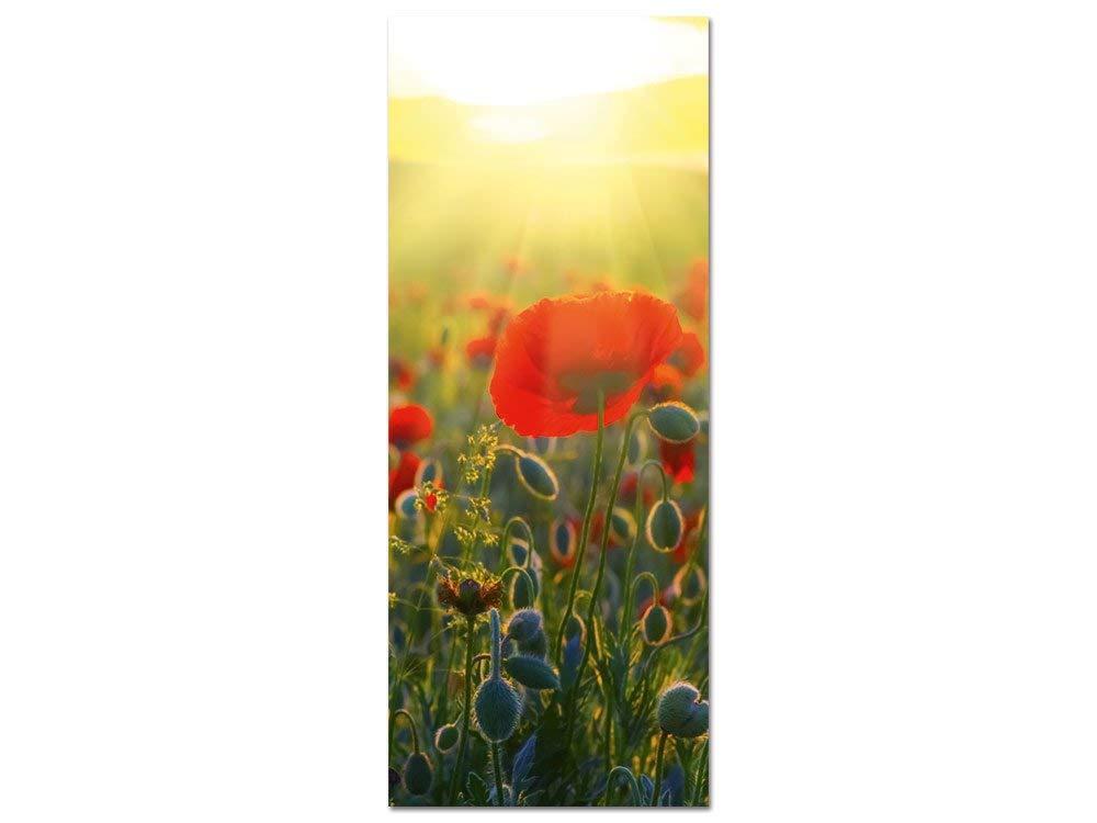 GRAZDesign Blumen Wandbilder Wohnzimmer - Acrylglasbilder Mohnblumen Wiese Sonne - hochkant romantisch für Schlafzimmer / 50x125cm / 100567_002_01_04