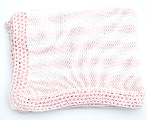 knitted-hand-crochet-finished-light-pink-cotton-white-stripes-baby-blanket