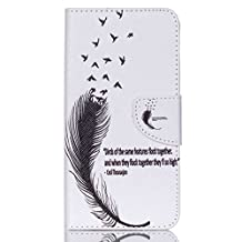 """Acer Liquid Z630 Z630S Leather Case,Gift_Source [White feathers] [Stand Feature] Magnetic Snap Case Premium Wallet Case Kickstand Flip Built-in Card Slots Folio Case for Acer Liquid Z630 Z630S 5.5"""""""