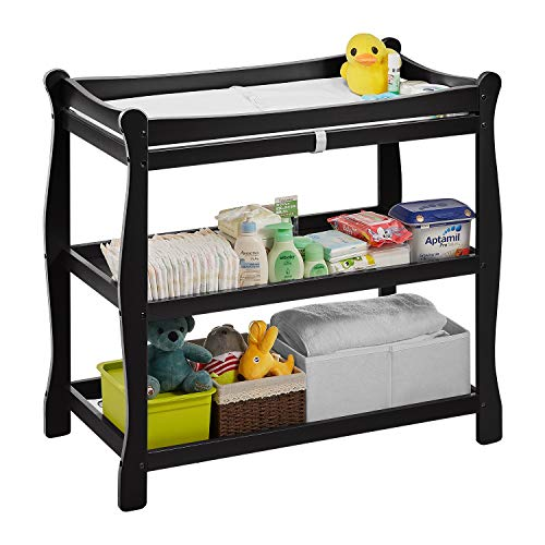 Kealive Baby Changing Table, Infant Diaper Changing Table Oak Wood 2 Fixed Shelves Storage, Newborn Nursery Station with Pad and Safety Belt for Baby, BPA Free, 37.4″L x 18.9″W x 35.8″ H, Black