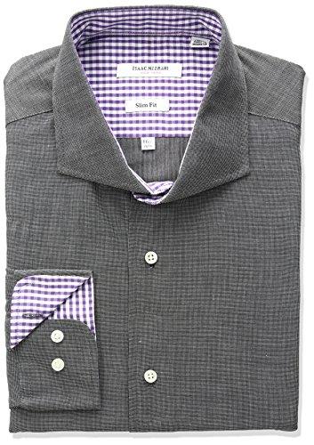 Isaac Mizrahi Men's Slim Fit End Cut Away Collar Dress Shirt, Black, 16.5