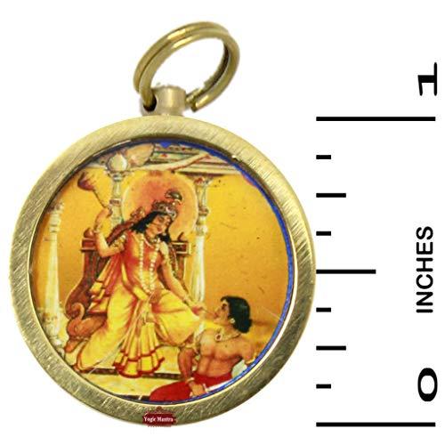Yogic Mantra Bagalamukhi Yantra Pendant (1 Inch Brass Locket) Energized Sri Maa Baglamukhi Kavach Yantra Hindu Puja Charm Amulet Talisman Yantram for Good Luck, Prosperity, Success, Wealth & Victory ()