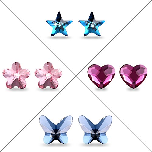 Crystal Earring Mother' Day Gifts PLATO H Crystal Stud Earrings Set, Star Stud Earring, Butterfly Stud Earring, Heart Stud Earring, Flower Stud Earring, 4 Pairs Of Earring Set by PLATO H