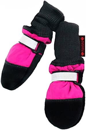 Amazon Com Muttluks Fleece Lined Muttluks Dog Boots Set Of 4 X Small 2 25 To 2 75 Inch Pink Pet Boots Pet Supplies
