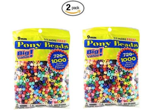 (Pony Beads Multi Color 9mm 1000 Pcs in Bag)