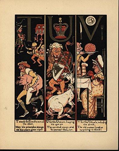 Lion Fighting Unicorn Pig Stealer Beer Mug c.1880 antique color lithograph print