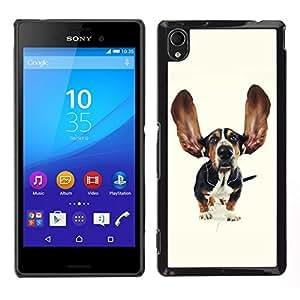 EJOY---Cubierta de la caja de protección para la piel dura ** Sony Xperia M4 Aqua ** --Grande divertido del perro de caza del oído