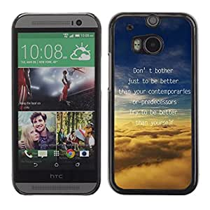 PC/Aluminum Funda Carcasa protectora para HTC One M8 Better Motivate Inspire Clouds Text Message / JUSTGO PHONE PROTECTOR