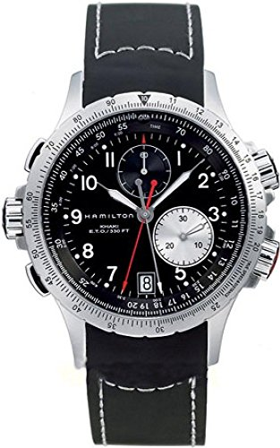 Hamilton-Mens-H77612333-Khaki-ETO-Stainless-Steel-Watch-with-Black-Rubber-Band