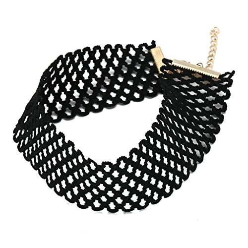 Aooaz Womens Collar Choker Necklace Stainless Steel Velvet Lace Tatto Ribbon Mesh Hollow Gold Black
