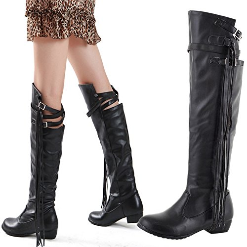 Nonbrand Ladies Leather Tassel Long Boots Block Heel knee length Shoes Black a5oHZbUl4T