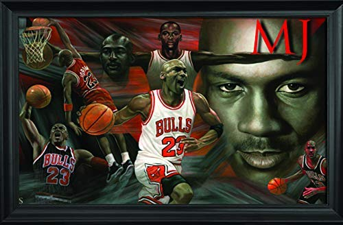 Michael Jordan Wall Art Textured Print Framed - The Goat, Chicago Bulls All Star, NBA Legend - Greatest of All Time - 36x24 MJ 23 Unique Collectible Wall Art