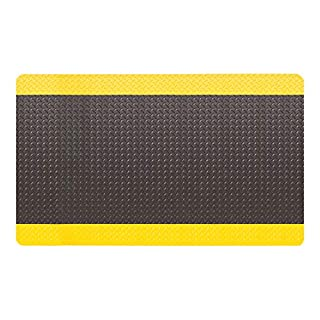 "AmazonBasics Anti-Fatigue Mat Diamond Deckplate Composite Mat 11/16"" Thick 3x10 Black/Yellow"