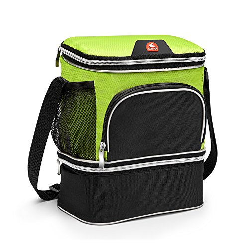 Insulated Lunch Bag with 2 Compartments, Soft Cooler Lunch Box with Leakproof Liner, Side Mesh Pocket and Shoulder Strap ()