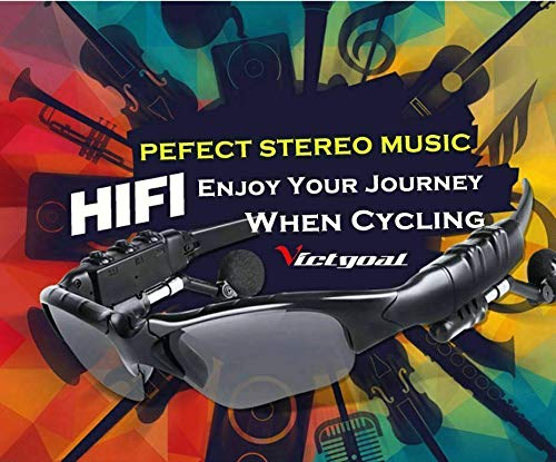 LFJNET Wireless Bluetooth Sunglasses Headphone Polaroid Glasses Outdoor Cycling Driving Sports Black