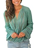 FARYSAYS Women's Casual Crochet V Neck Hollow Out Long Bell Sleeve T Shirt Tops Blouse Green X-Large
