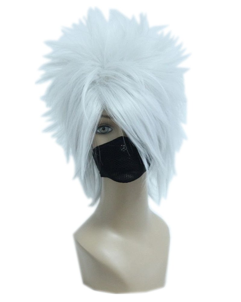 Kadiya Silver White Anime Short Cosplay Wig Heat Resistant Synthetic Hair
