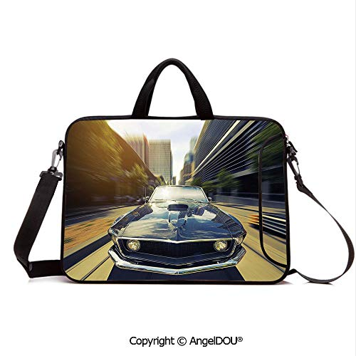 AngelDOU Portable Ultrabook Soft Sleeve Laptop Bag Case Cover Vintage Classic Car in Urban Street Old Fashion Auto in Town Nostalgia Picture Compatible with MacBook Asus Acer HP Sepia Silver Grey