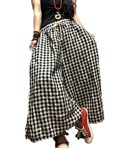 YESNO PD3 Cropped Pants Trousers Wide Leg 100% Linen Elastic Waist With Drawstring Plaid Pants Low Crotch