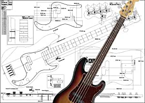plan of fender precision bass 5 string full scale print musical instruments. Black Bedroom Furniture Sets. Home Design Ideas