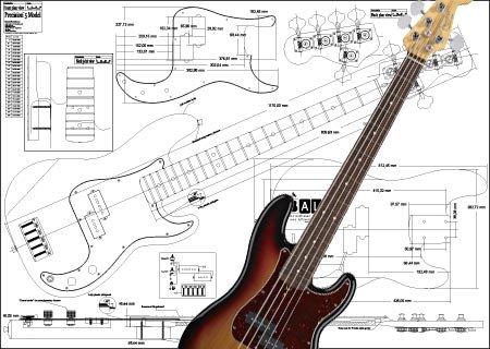 Plan der Fender Precision Bass mit 5 Saiten – Full-Scale Print ...