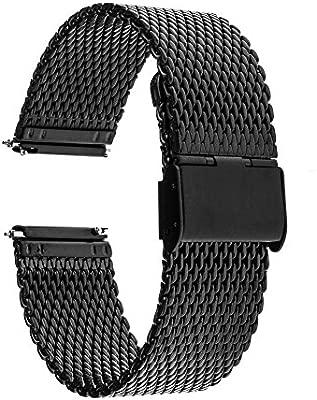 Adallor Milanese Correa de Reloj, de liberación rápida, Correa de Repuesto de Acero Inoxidable, 18, 20, 22, 24 mm, Bold Black, 24 mm