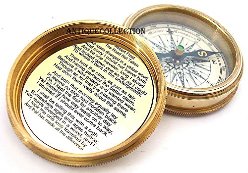 Leather Transit Case - ANTIQUECOLLECTION Brass Pocket Compass & Leather Case with Robert Frost Poem - Pocket Compass