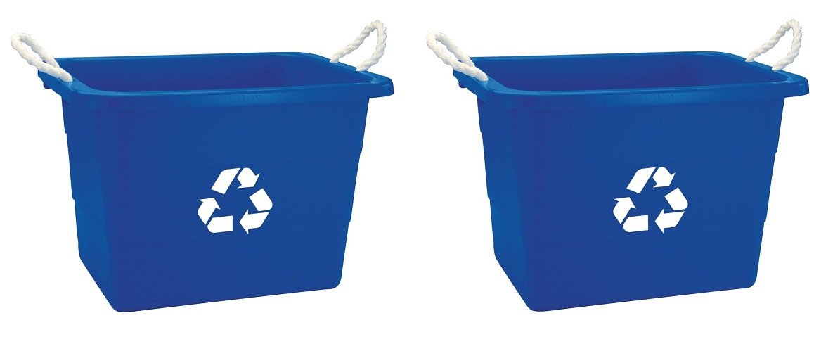 United Solutions EcoSense TU0105 Blue Nineteen Gallon Rough and Rugged Recycling Tub with Rope Handles -19 Gallon Rope Handled Recycling Bin in Blue (2 PACK)