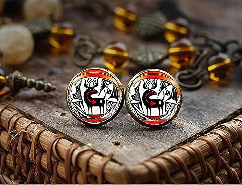 Native American Indian art stud earrings, American Indian ornament earrings, Southwestern Jewelry, boho tribal ethnic (Indian Gold Ornaments)