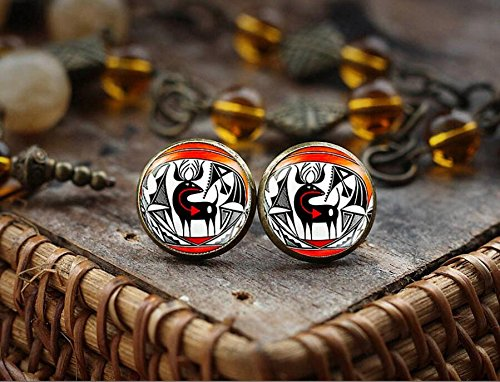Native American Indian art stud earrings, American Indian ornament earrings, Southwestern Jewelry, boho tribal ethnic earrings