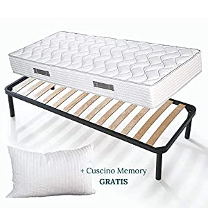 Evergreenweb - Kit Rete e Materasso Una Piazza e Mezza 120x200 Alto 20 cm + Cuscino Memory Foam Gratis Set Letto… 1 spesavip