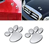car 3d emblem - Eyourlife 3D Chrome Dog Paw Footprint Sticker Decal Auto Car Emblem Decal Decoration Color Silver
