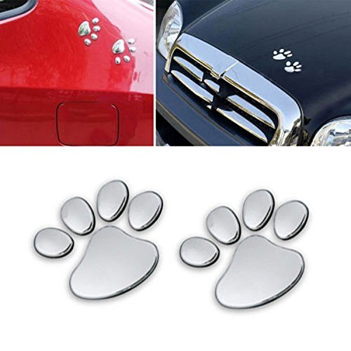 Eyourlife 3D Chrome Dog Paw Footprint Sticker Decal Auto Car Emblem Decal Decoration Color Silver Chrome Auto Car Emblem