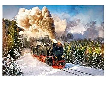Pintura Por Números Paisaje Diy Tren Dibujo Por Número See Off