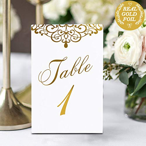 AerWo Gold Wedding Table Numbers 1-25 & Head Table Card, Double Sided Gold Foil Calligraphy Design Table Numbers for Wedding Reception Wedding Table Decorations