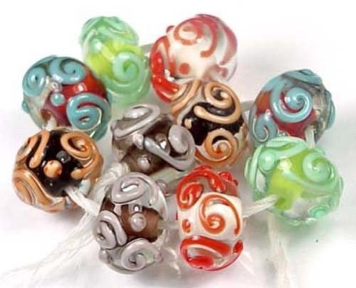 (10 Beads) 13x8mm LAMPWORK Handmade Glass Colorful Scroll Rondelle Beads