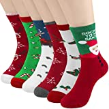 6 Pairs Women Colorful Fancy Crazy Design Soft & Stretchy Novelty Crew Socks Christmas Holiday Socks