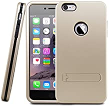 iPhone 6S Plus Case, Febe Shockproof Hard High Impact Rugged Heavy Duty Protective Armor Defender Bumper Non Slip Surface with Excellent Grip Case and Stand Case For iPhone 6S Plus 5.5 Inch - Gold